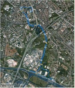 mijn gewoonlijke trainingsroute als ik over de middag loop op t werk: van Merelbeke door t Liedemeerspark, langs de ene zijde van de schelde door richting Gent, langs de andere zijde van de schelde terug richting Merelbeke. Credits to Chris voor het ontdekken van deze route. :)