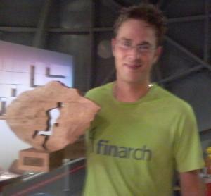Na de finish in de bol van het Atomium