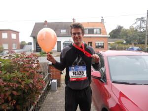 Foto bij thuiskomst, de ballon is een stuk kleiner in Nederland dan in België. (foto: Jessie)