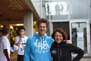 Samen met Dominique, de vrouw van de baas, net voor de start (foto: Alex Gerets)